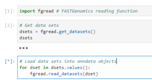 code showing how to read datasets using Python