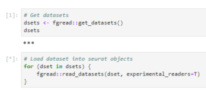 code showing how to read datasets using R